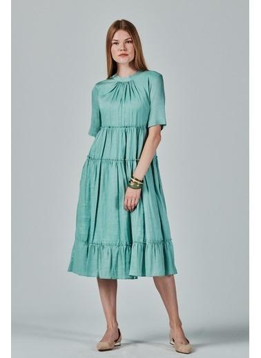 JEANNE D'ARC A Form Büzgülü Salaş Rengi Elbise  Yeşil